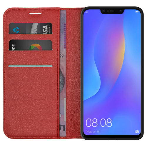 Leather Wallet Case & Card Holder Stand for Huawei Nova 3i - Red
